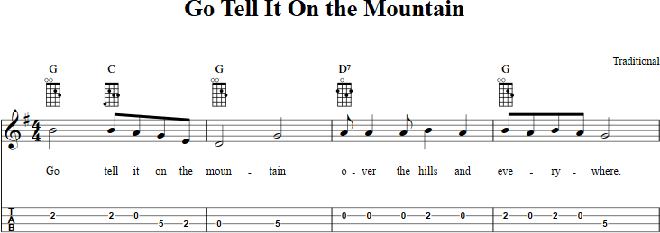 Go Tell It on the Mountain sheet music for mandolin with chords ...