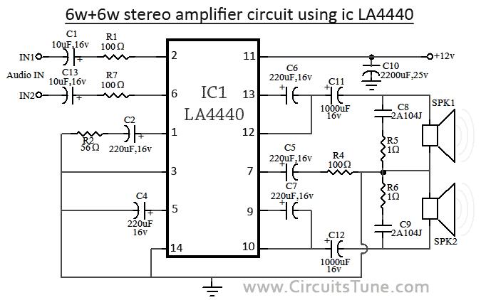 6w 6w audio stereo amplifier circuit using ic la4440 png 675 422 rh pinterest com Stereo Amplifier Circuit Diagram Schematic Circuit Diagram
