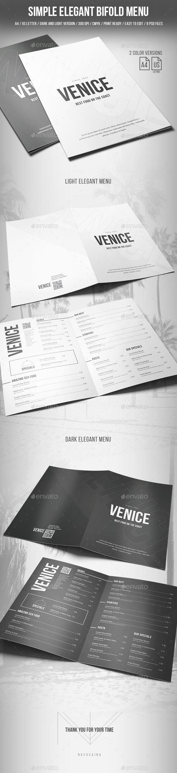 Simple Elegant Bifold Menu - A4 and US Letter - 2 Color Version ...