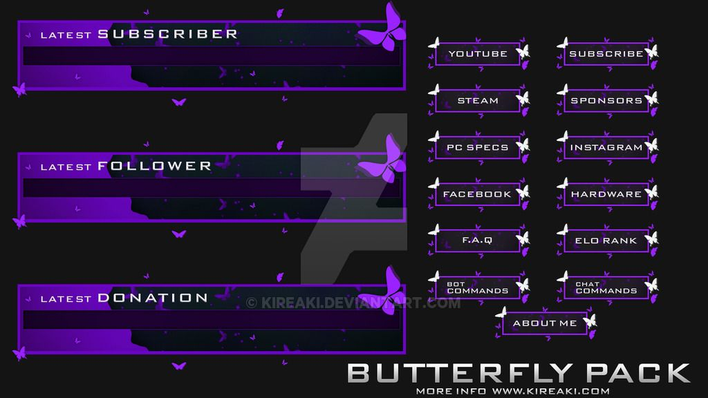 Twitch Alerts And Panels Purple By Kireaki Deviantart Com On Deviantart Twitch Overlays Streaming