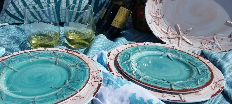 Fabulous new artisan coastal starfish design for melamine non-breakable outdoor tabletop. & donu0027t forget the non-breakable dinnerware! | Picnic on the Shore ...