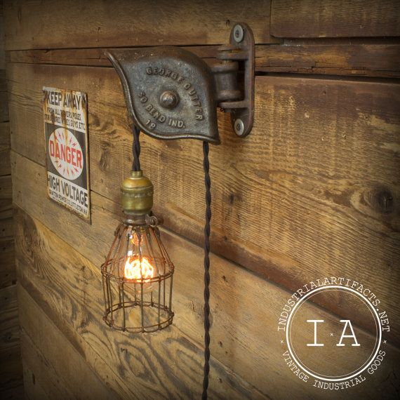 Industrial Pulley Light Fixture: Vintage Industrial George Cutter Pulley Trouble Lamp