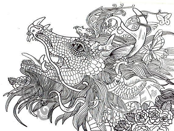 Digital Dragon Art Coloring Page Dragon Art Coloring Pages Animal Coloring Pages