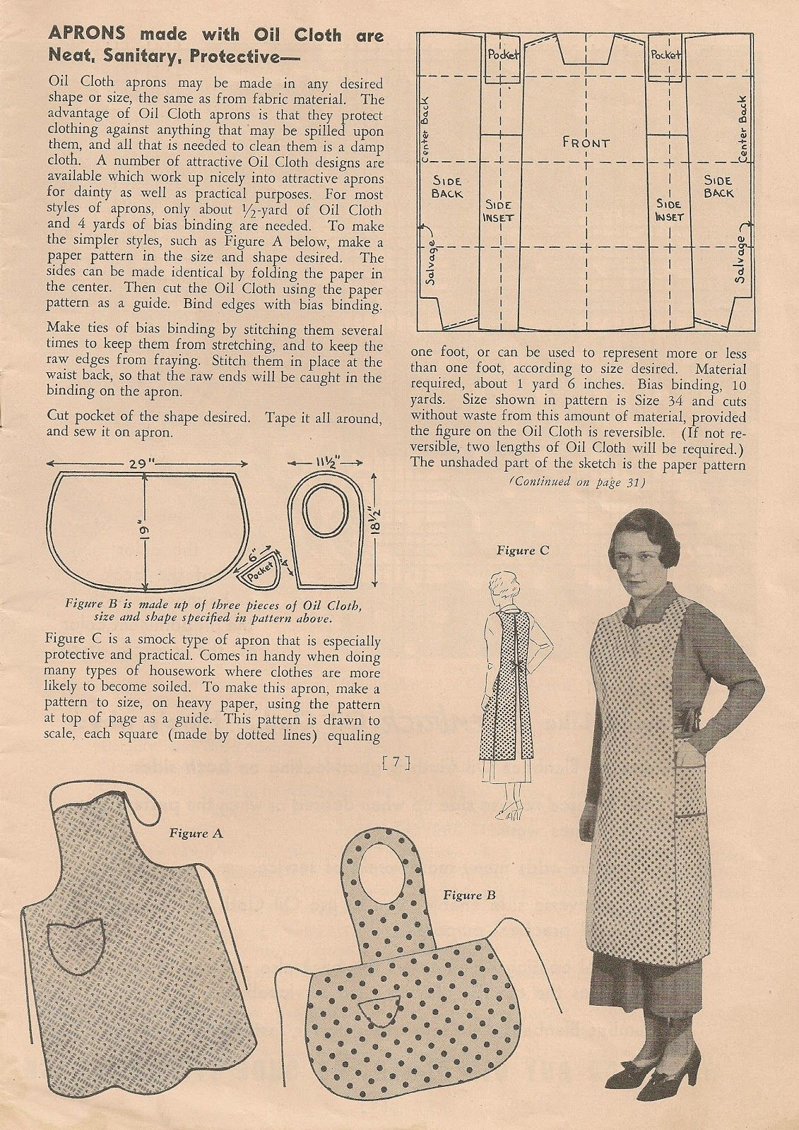 Free Vintage Apron Patterns Circa 1930s From Sentimental
