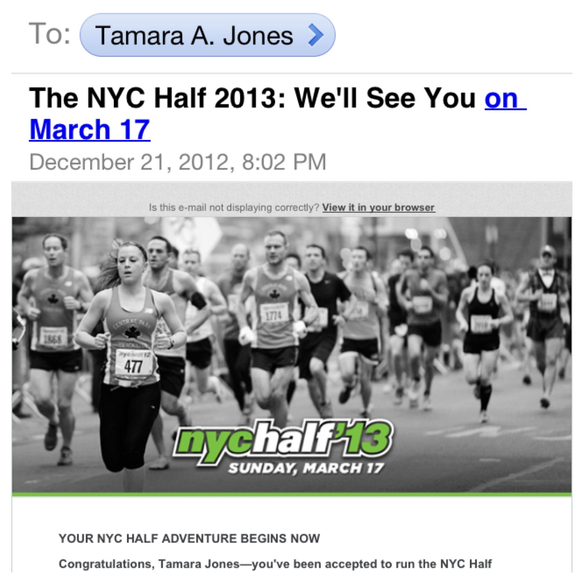 I received this email last night!!! Whohoo! I'm in! #NYCHalf2013. My goal is to challenge myself even more in 2013 than I've ever challenged myself before! My first half is in January, this one in March, I'Il do about 7 other races then end the year with the 2013 NYC Marathon which I qualified for this year!  Truth be told, I hate running! It's difficult and mentally & physically draining! but I like to challenge myself and I learned at a young age that if something is difficult then you do…