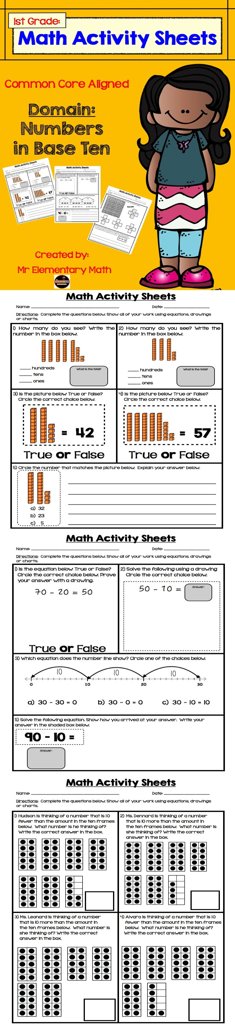 Place Value Number Sense 1st Grade Print And Practice