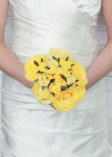"Rose Nosegay Standing Bouquet in Yellow12"" Tall x 8"" Bouquet Head"