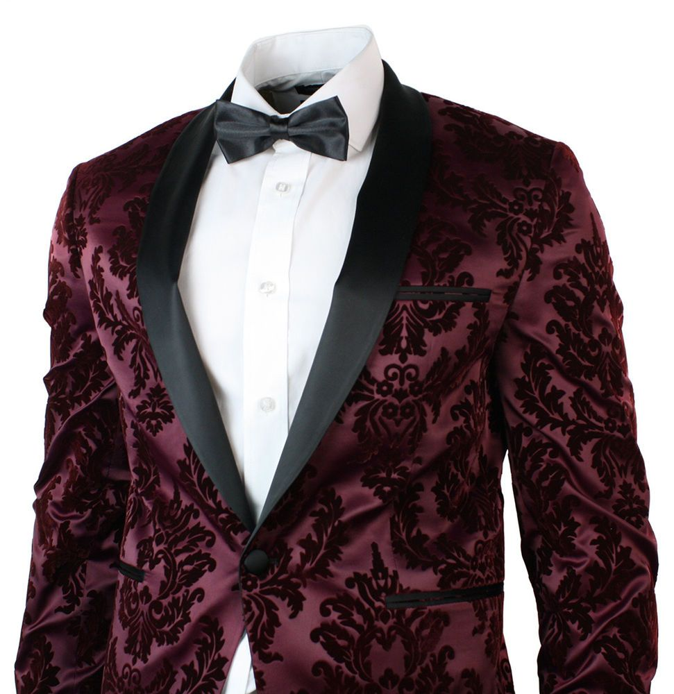 Luxury Men Suit Golden Floral Pattern Suit Jacket Men Fit Prom ...