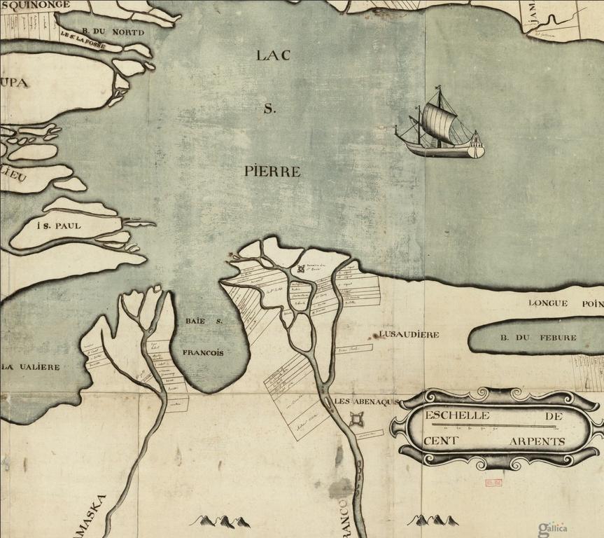 Carte du lac SaintPierre démontrant une partie de la