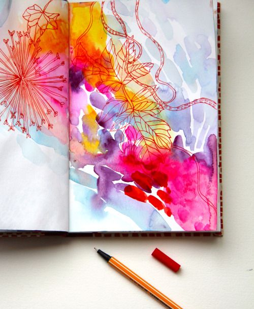 Colourful Watercolour And Pen Sketchbook Art Journal Inspiration