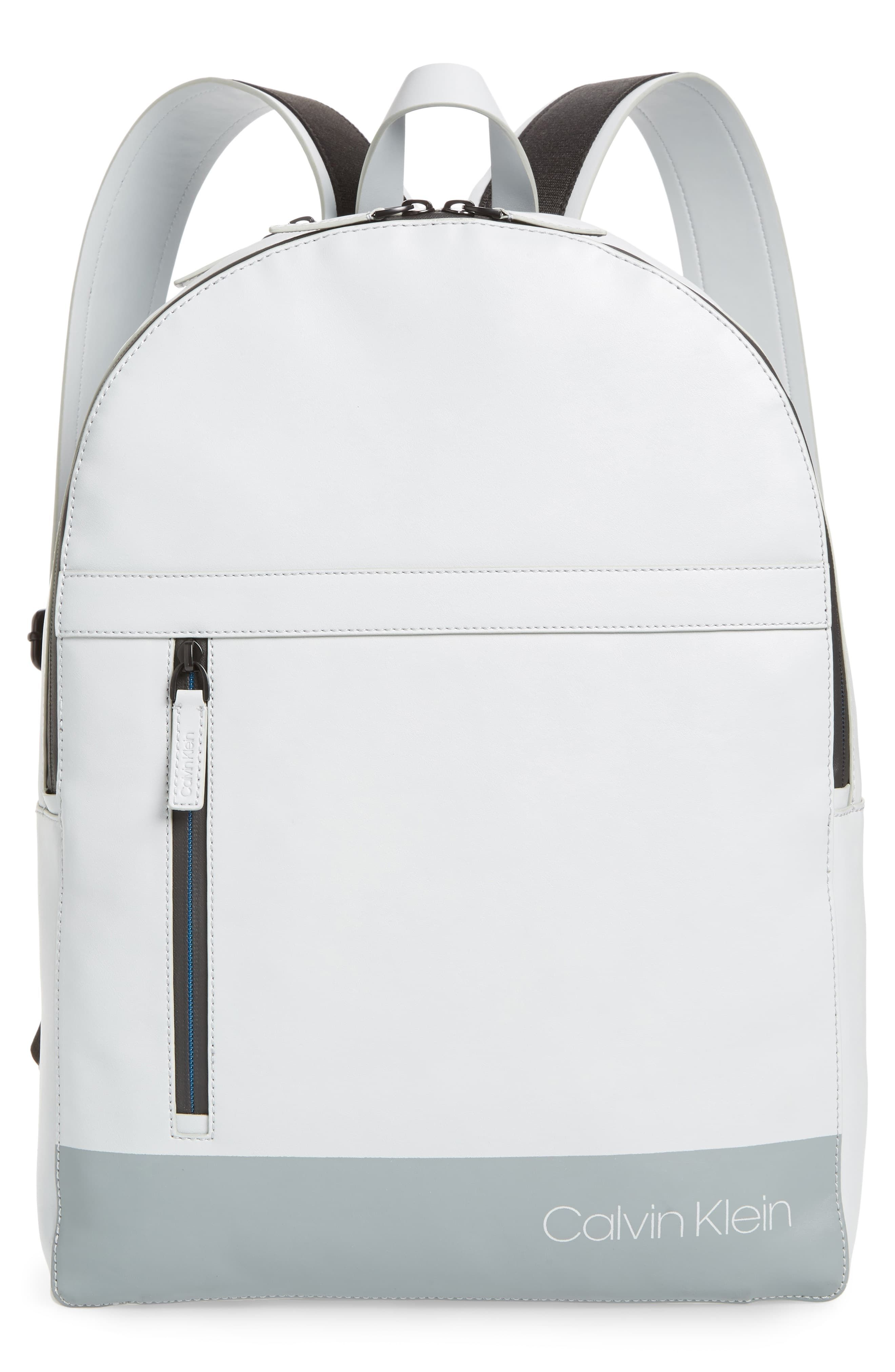 Men's Calvin Klein Screen Print Faux Leather Backpack Grey