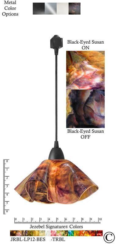 Jezebel Signature® Lily Track Lighting Pendant Small. Hardware: Black. Glass: Black-Eyed Susan