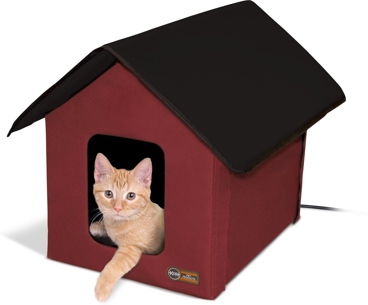 K&H Pet Products Outdoor Heated Kitty House, Red/Black