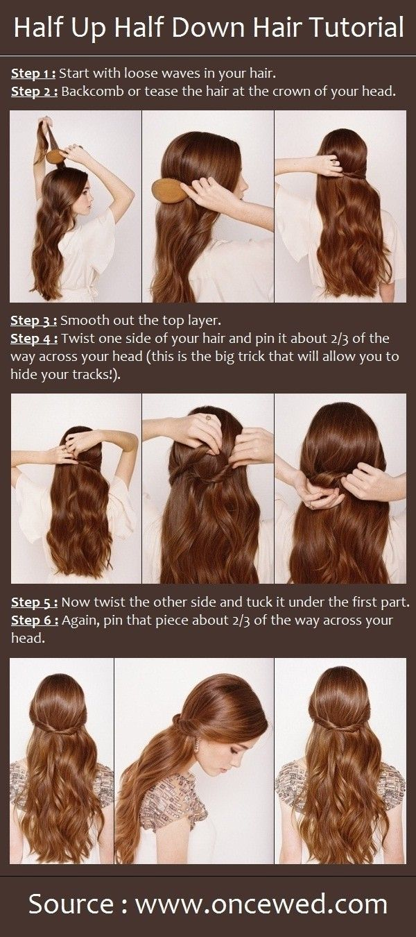 Half up half down hair style tutorial easy wedding hairstyles for