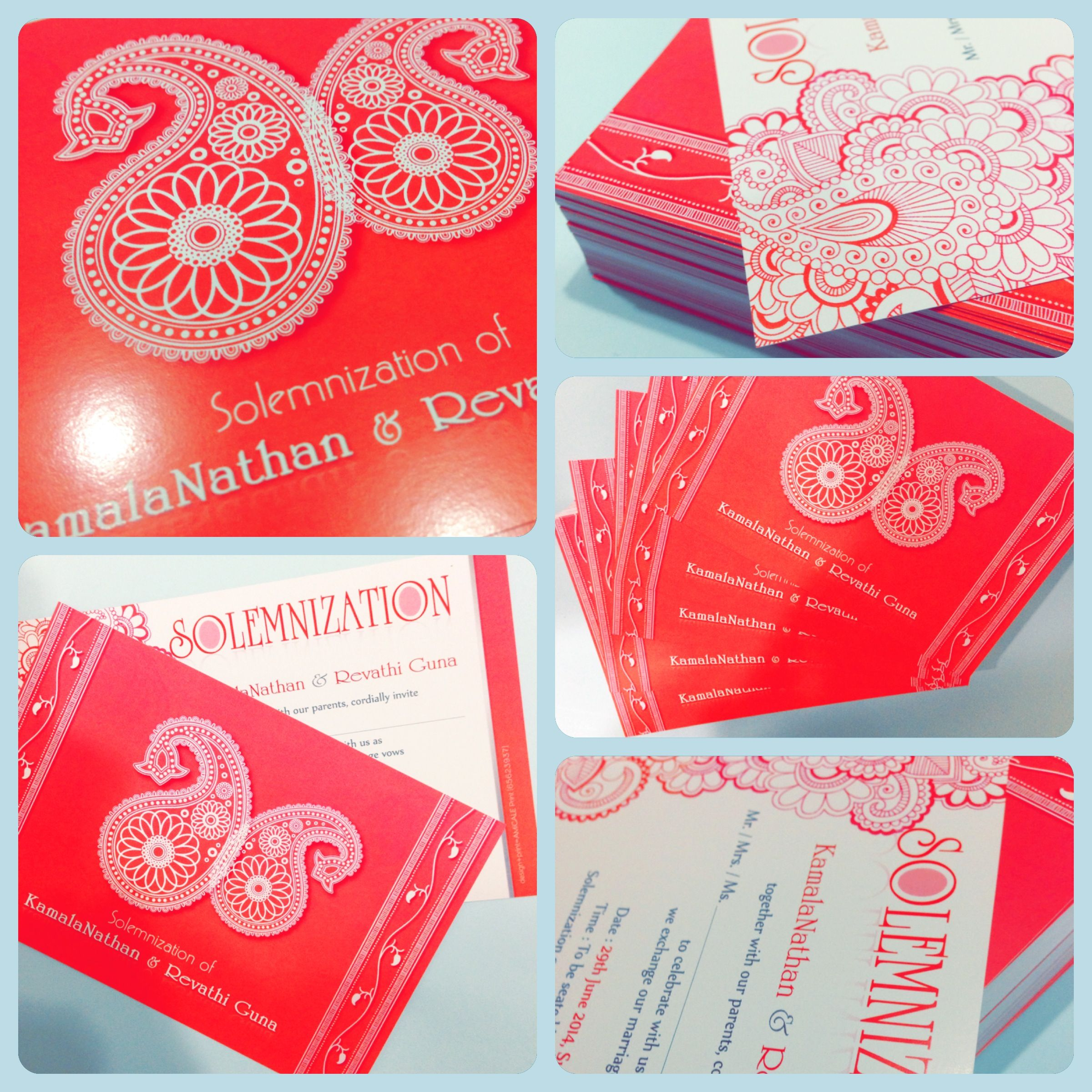 Beautifully inspired Indian Solemnisation invitation card. Amicale ...