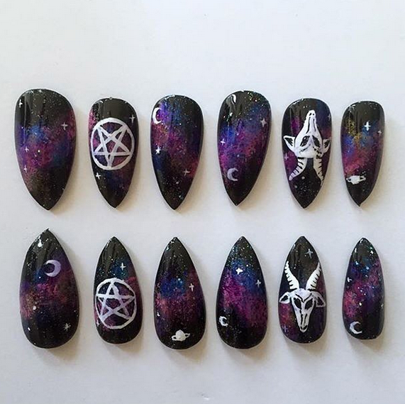 Black stiletto nails with galaxy, pentagram, and goat design … - Black Stiletto Nails With Galaxy, Pentagram, And Goat Design