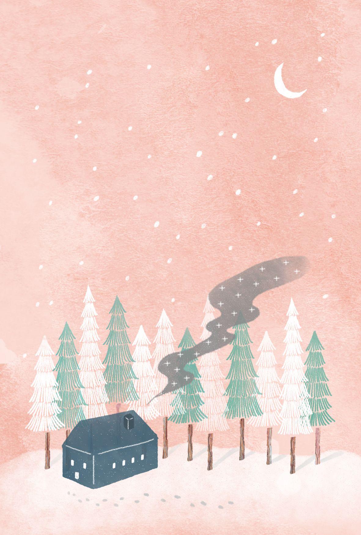 Warm Winter On Behance Winter Wallpaper Winter Illustration Painting Snow