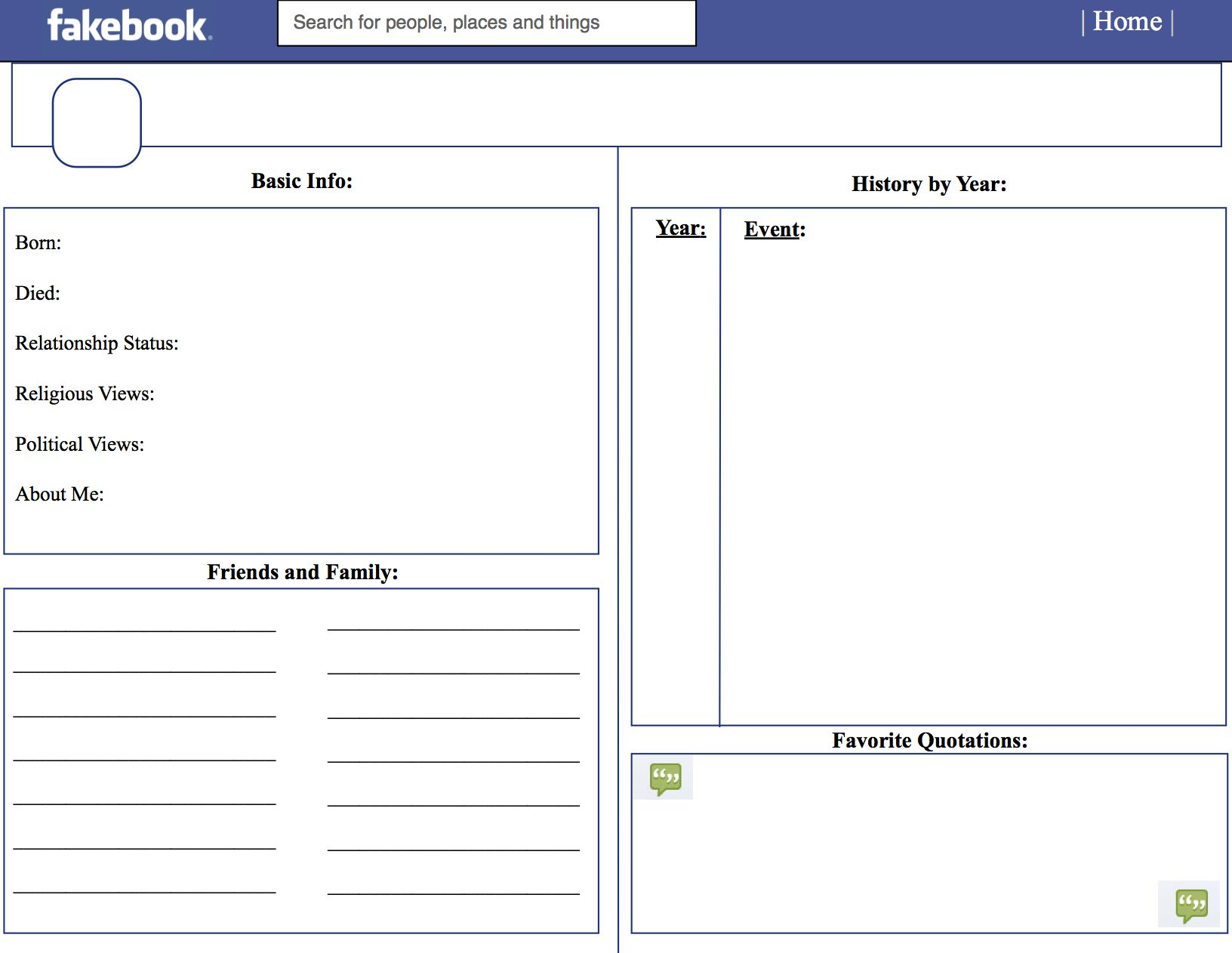 image regarding Printable Facebook Template identify Pin upon Instructive Plans
