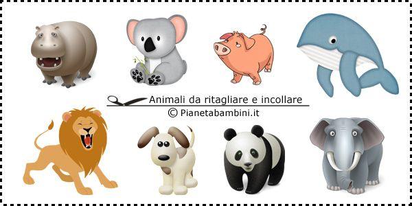 Disegni di animali da ritagliare e incollare per bambini for Piccoli piani di fattoria a 2 piani