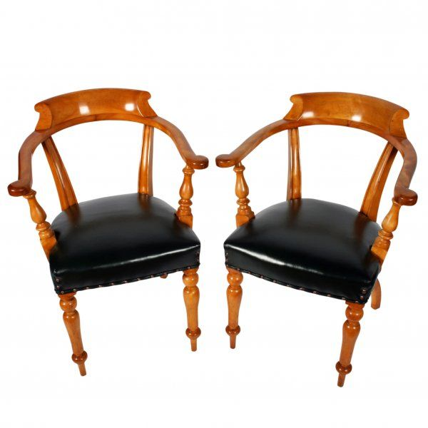 Room Pair Of Satin Birch Leather Arm Chairs Antique ChairsAntique Dining