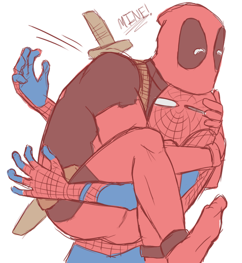 Wade Wilson and Peter Parker. #SpideyPool