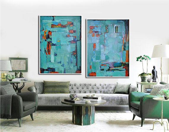 Set Of 2 Large Abstract Painting Canvas Art by CelineZiangArt