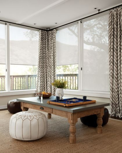 #Solar Roller #Shades in 13089 Software/ Blanca, Layered with Soft Top #Drapery in 15197 Sumba/ Driftwood