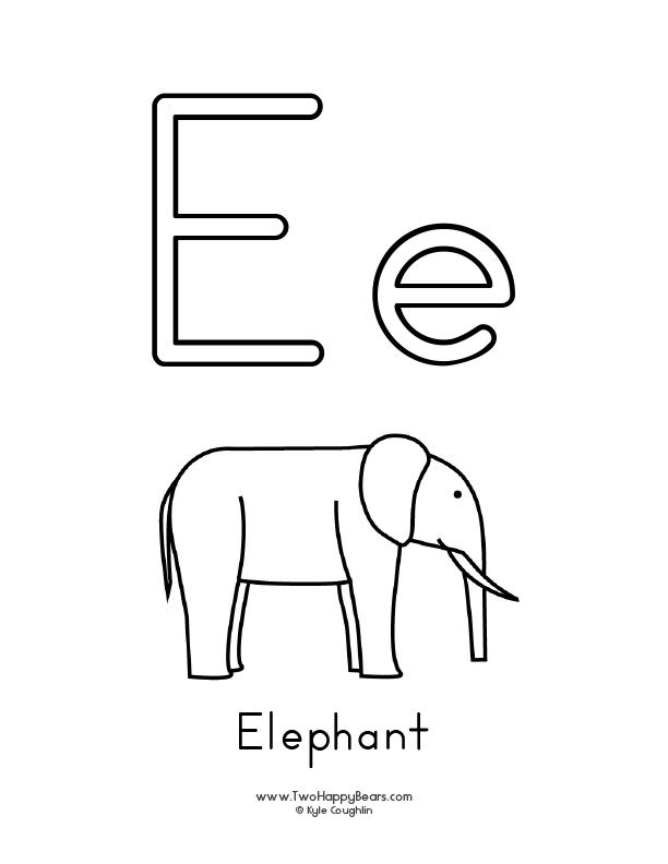 Coloring Page For The Letter E With Upper And Lower Case Letters To Color And A Picture Of An El Alphabet Coloring Pages Alphabet Coloring Alphabet Preschool