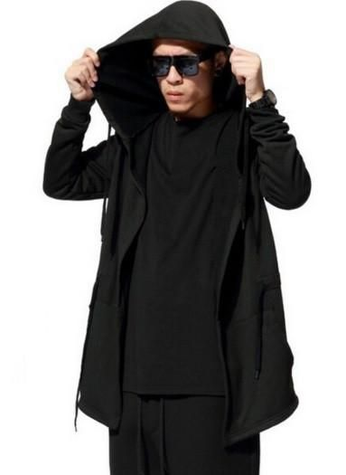 df0d0fdcb4 ... Hip Hop Mantle Hoodies Black Jacket long Sleeves Cloak Man s Coats  Outwear from mobile site on Aliexpress Now! NinjApparel - Sith Hoodie Black  Front ...