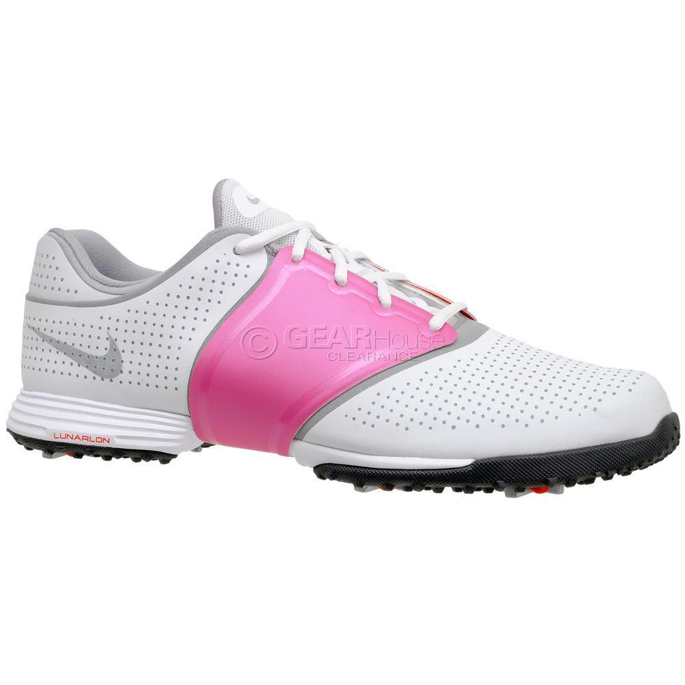 Nike Golf Lunar Embellish Womens Golf Shoes Cleats - White / Pink / Orange