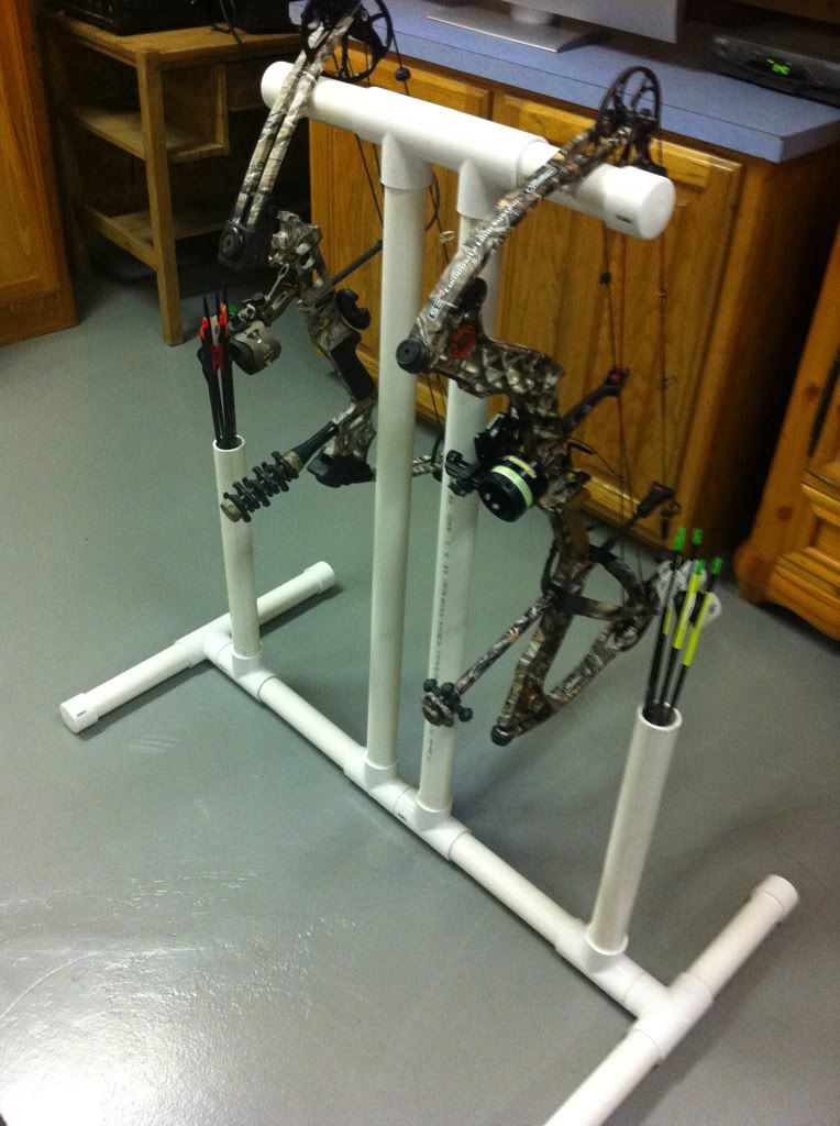 Pvc bow stand with quiver archery pinterest quiver for How to make a deer stand out of wood