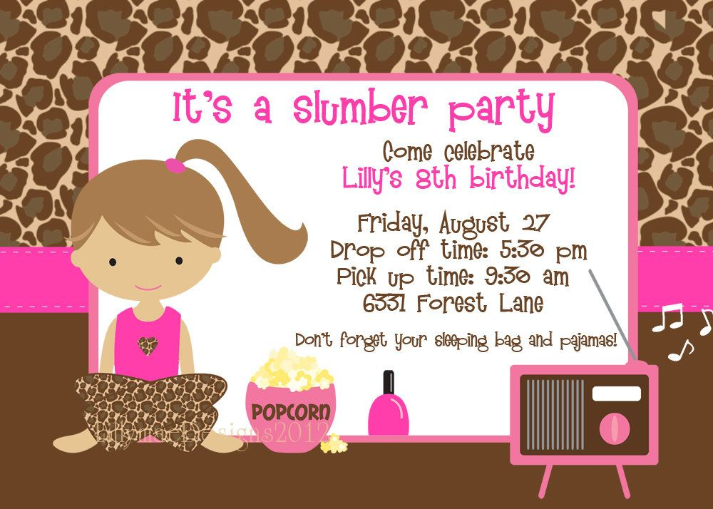 motif free printable slumber party birthday invitations | Layla ...