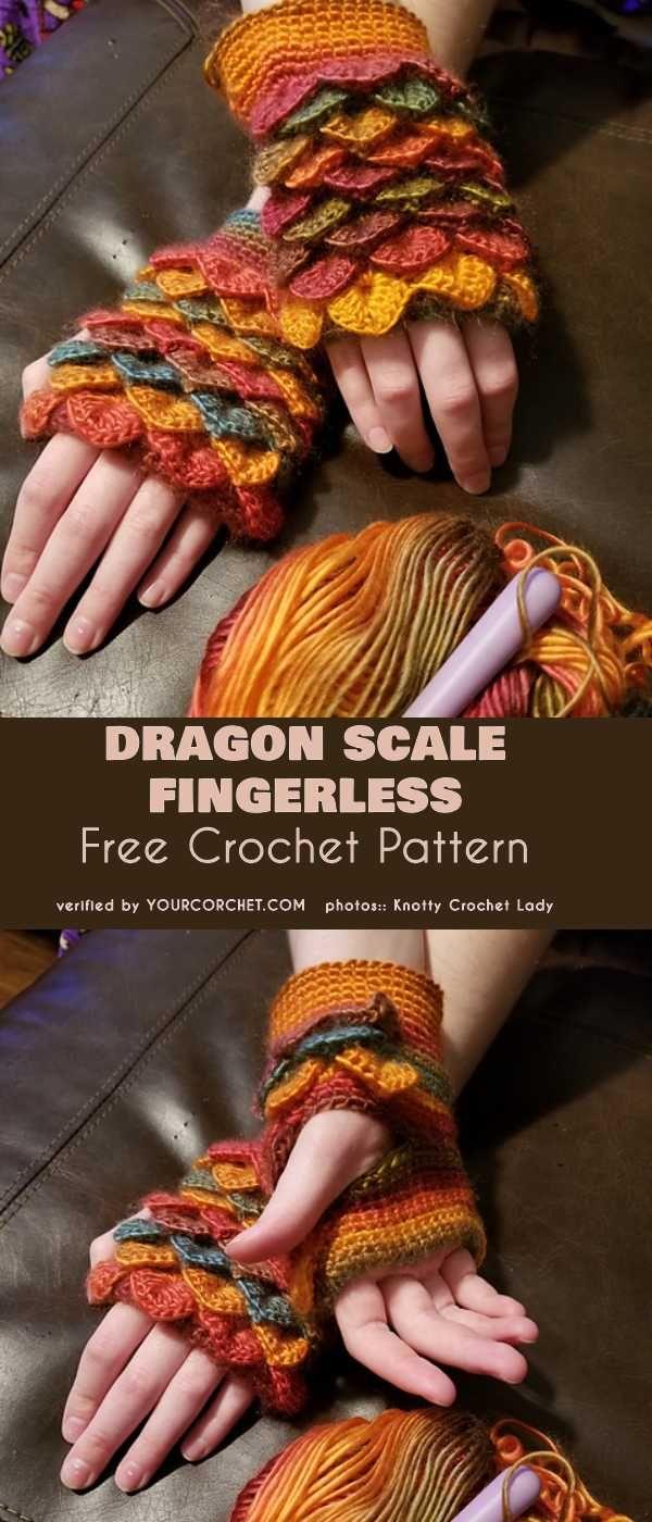 Dragon Scale Fingerless Free Crochet Pattern | tejido | Pinterest ...