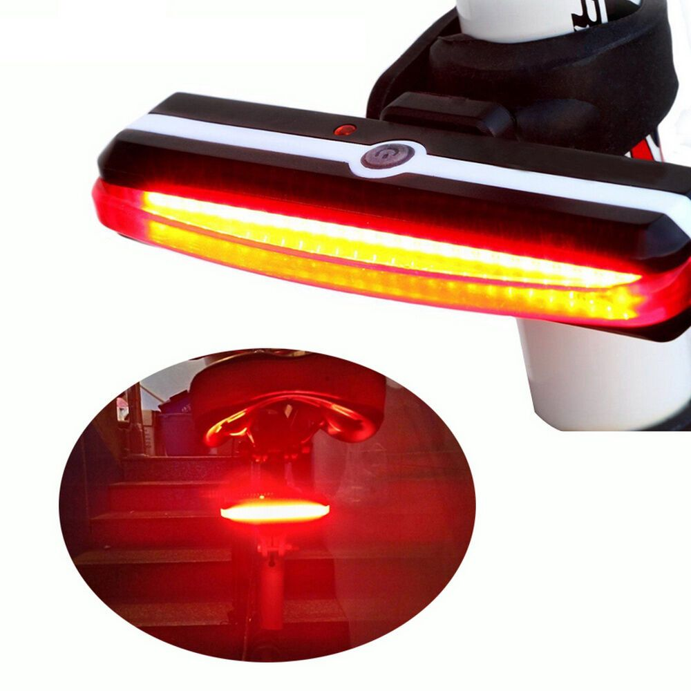 Red COB LED Bicycle Bike Cycling Front Rear Tail Light USB Rechargeable 4 Modes