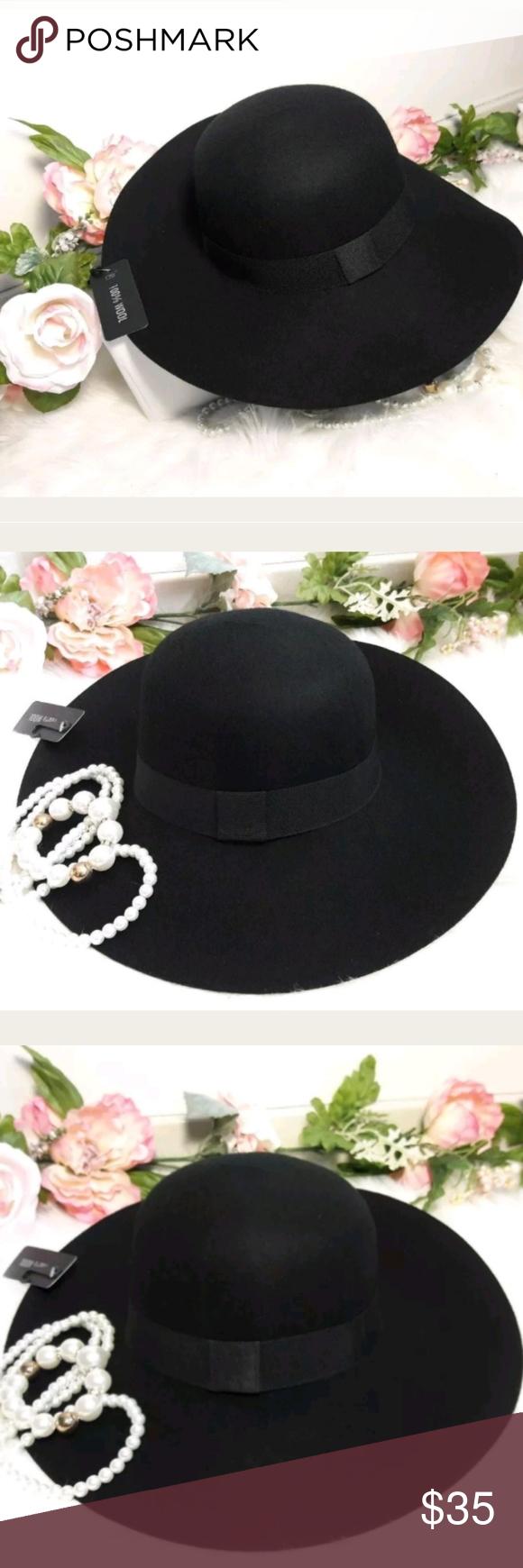 00d656a3bbb D Y Black Wide Floppy Brim Wool Hat NWT