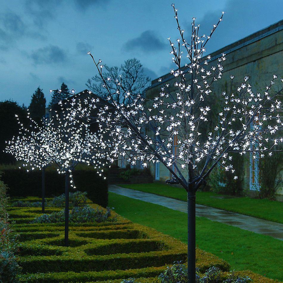 White Led Pre Lit Christmas Cherry Blossom Tree 2 5m Fairy Lights In Trees Outdoor Lights Uk Cherry Blossom Tree