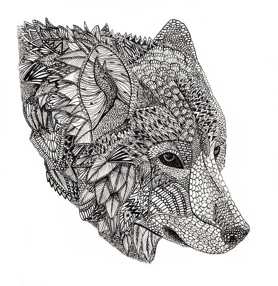 Coloring pages for adults wolf - Find This Pin And More On Adult Colouring Animals Zentangles