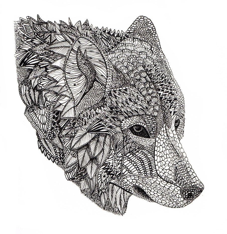 Wolf Wolf Art Print Zentangle Animals Wolf Colors