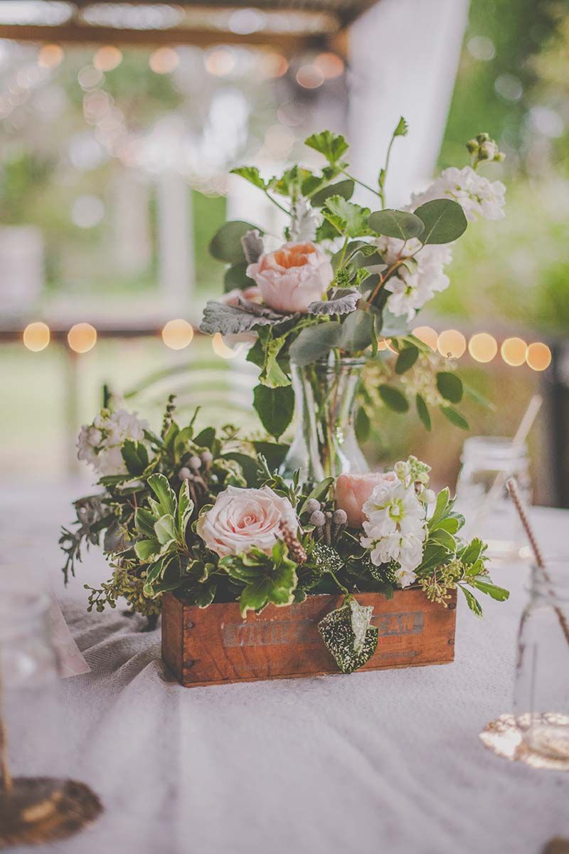 Rustic Floral Centerpiece by Dream Design Florist - Elegant Rustic Wedding at Birdsong Barn in Titusville, FL - Photo by Brianna Forster Photography - click pin for more - www.orangeblossombride.com