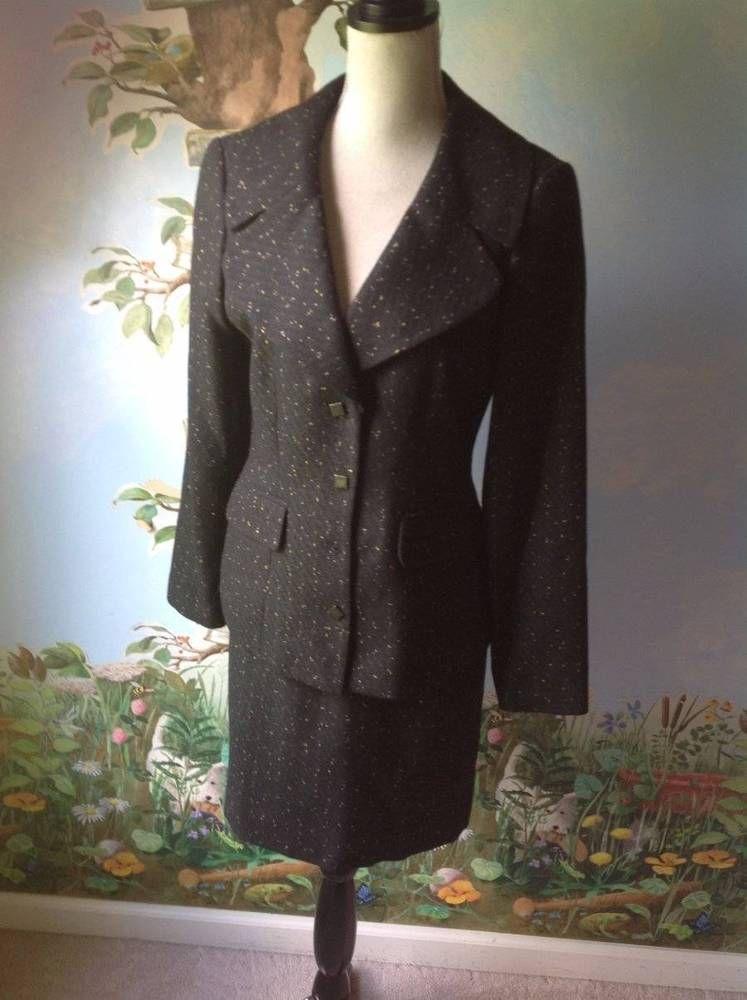 Danna Buchman women's Black and Yellow Long Sleeve Skirt Suit Size 6 #DanaBuchman #SkirtSuit
