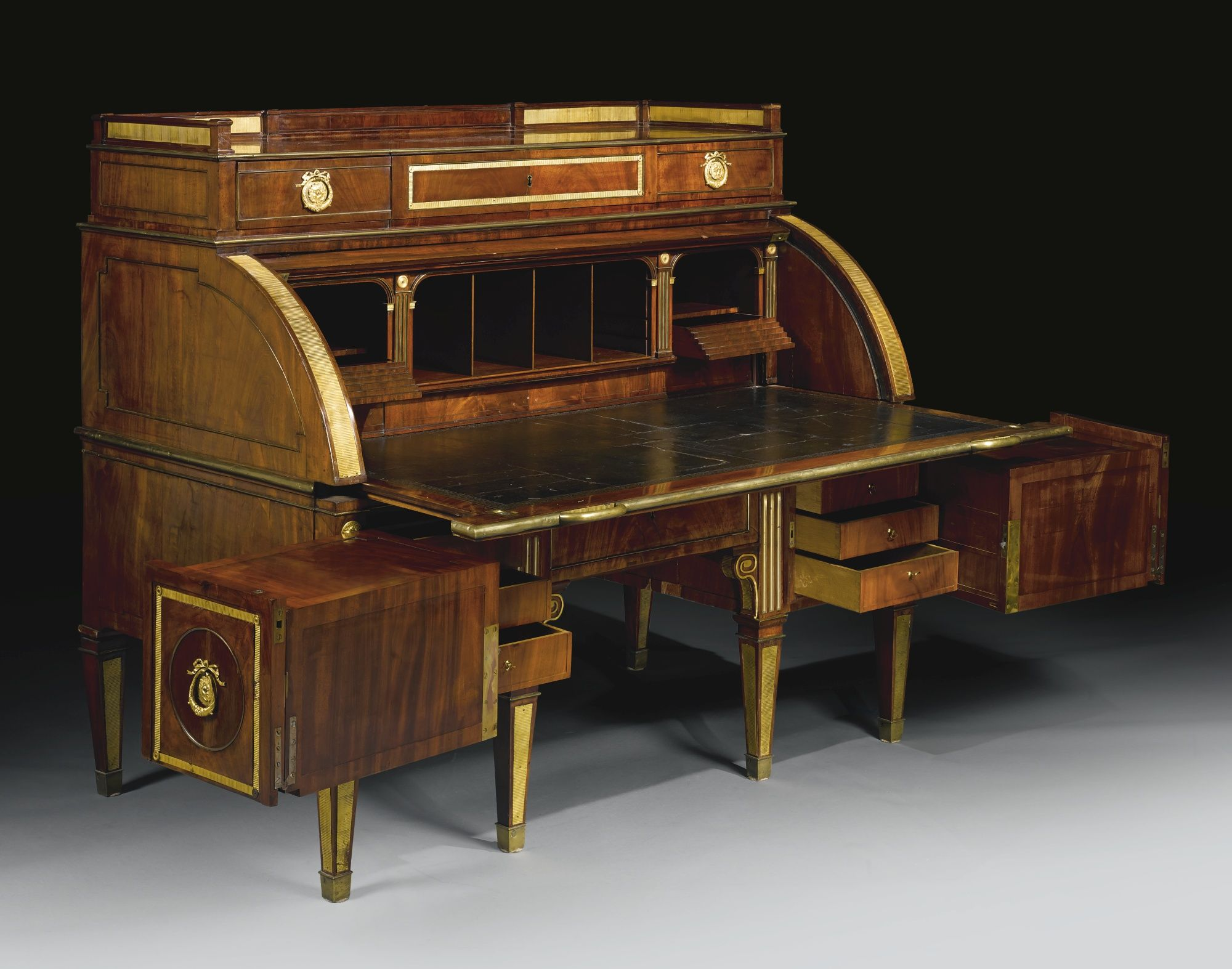 German Neoclassical Ormolu Mounted Mahogany Rolltop Desk David