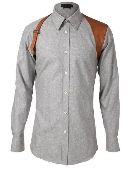 182f70b82b7ff Fancy - Alexander Mcqueen Leather Holster Detailed Shirt in Gray for Men  (grey) | Lyst