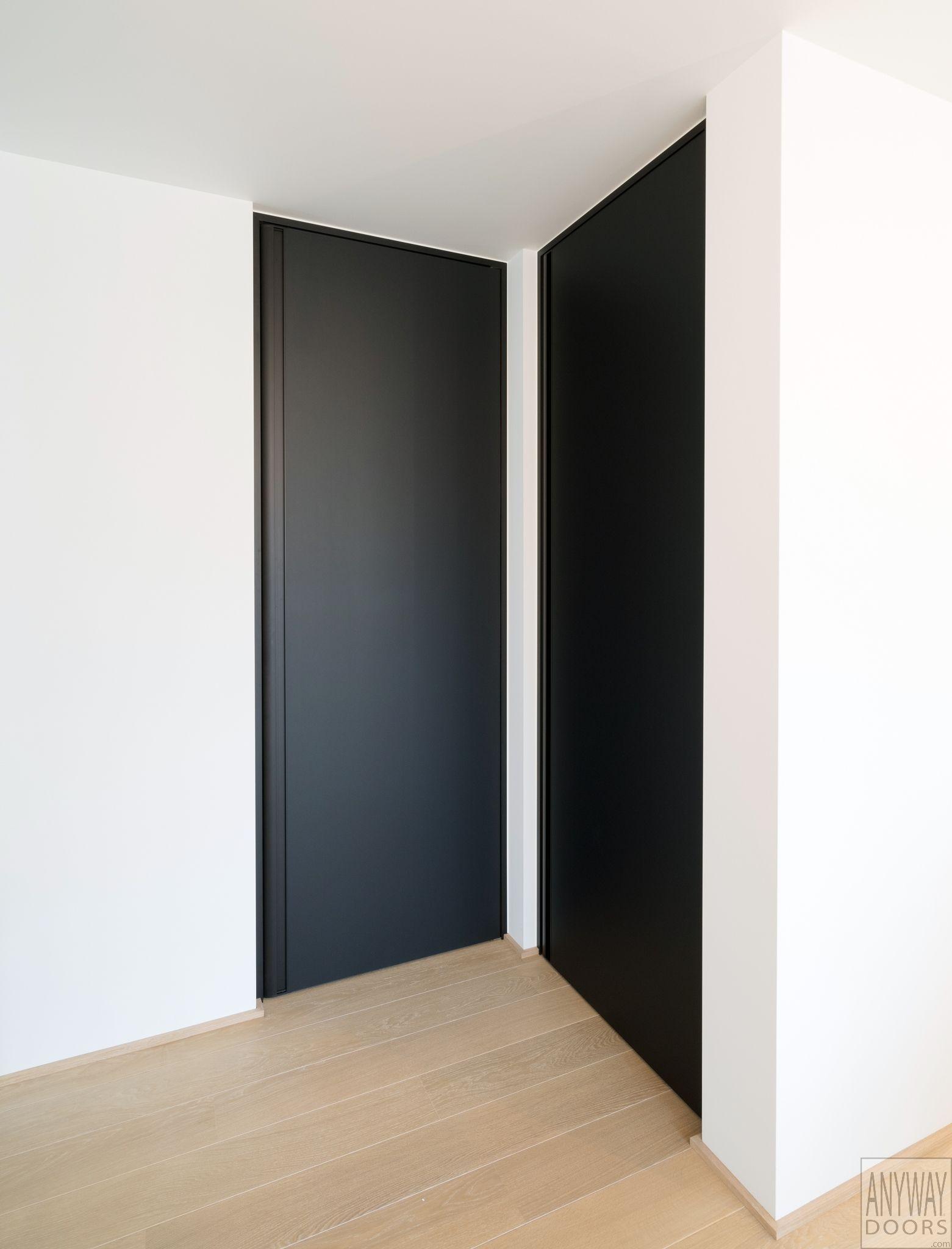 Porte Intérieure Moderne Avec Poignée Intégré En Aluminium Noir