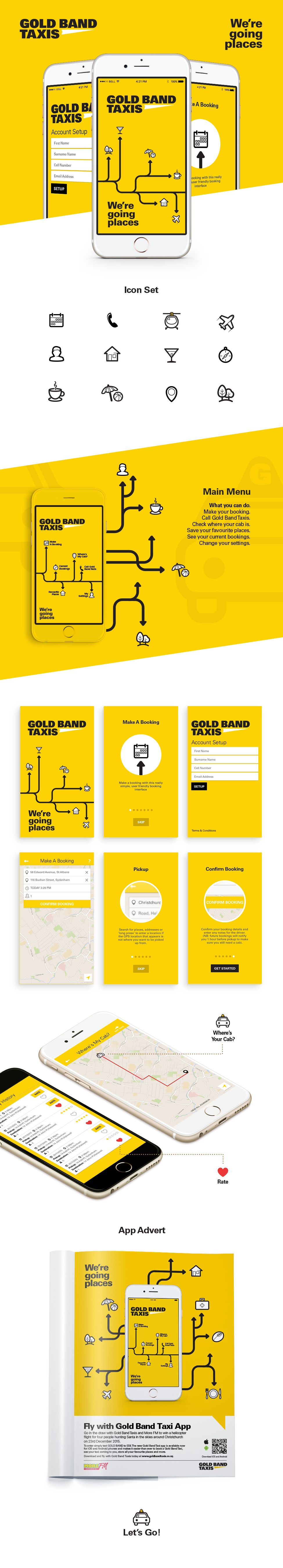 Gold Band Taxis iOs & Android App for booking taxis   Designed & developed by @studiopublica