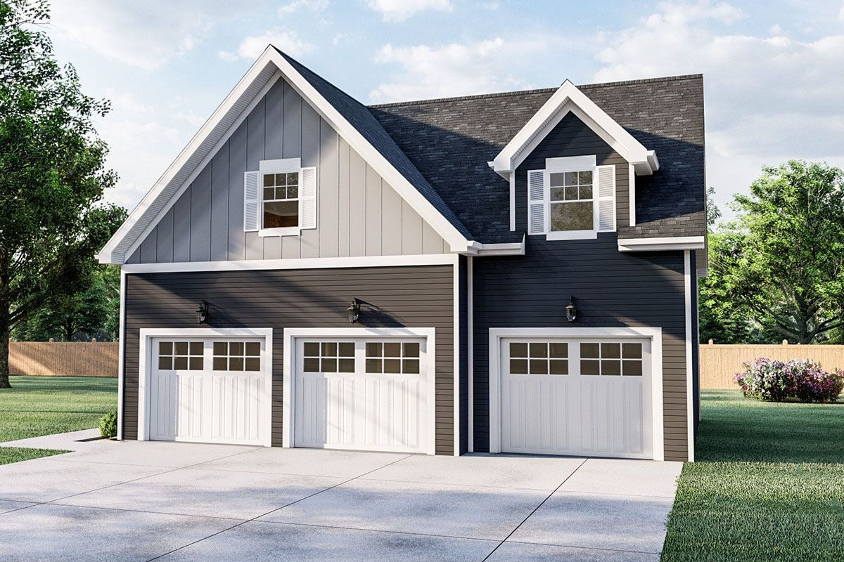 Plan 62592dj Carriage House With Vaulted Ceilings Carriagehouseplans In 2020 Carriage House Plans Garage House Plans Barn House Plans