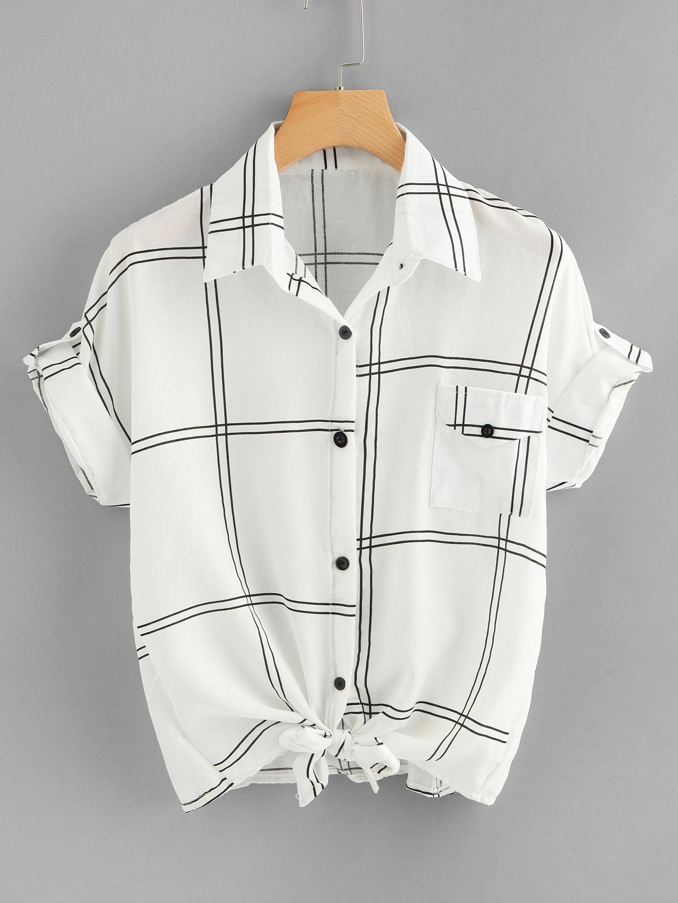 Knot Hem Plaid Shirt -SheIn(Sheinside)  6d157447717