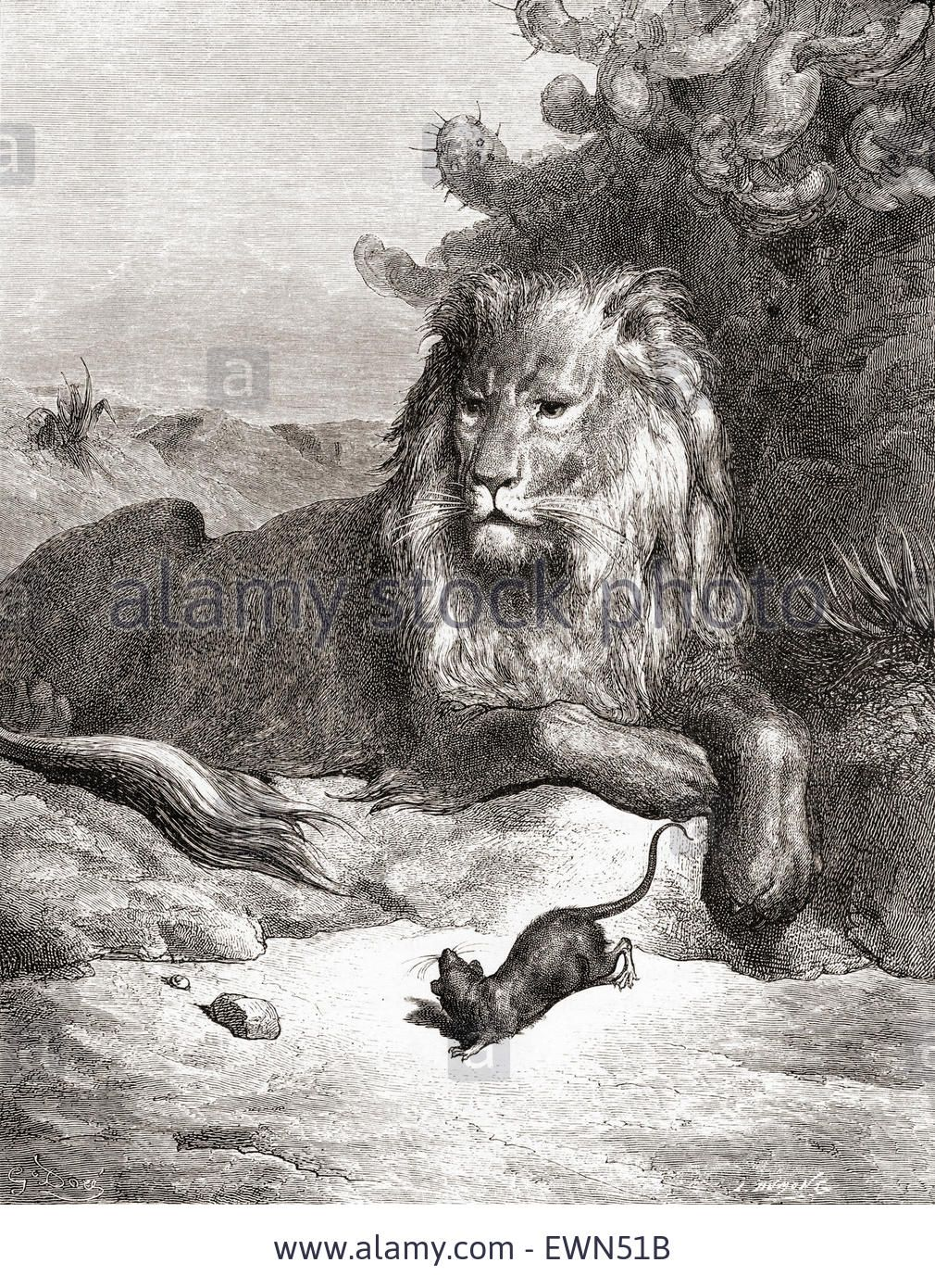 Extrêmement Gustave Doré's illustration of La Fontaine's fable The Lion and  UB02