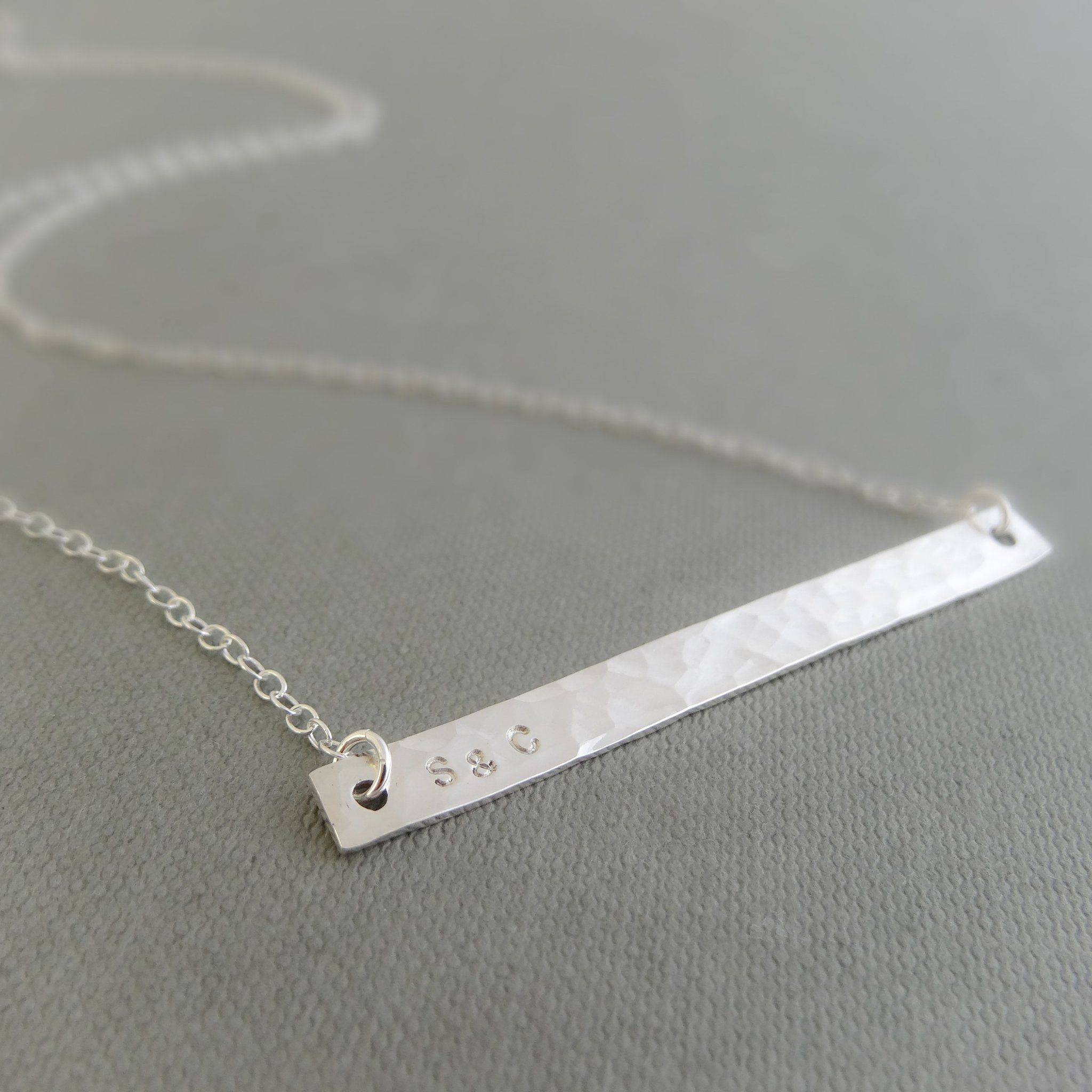 Silver personalised initial bar necklace