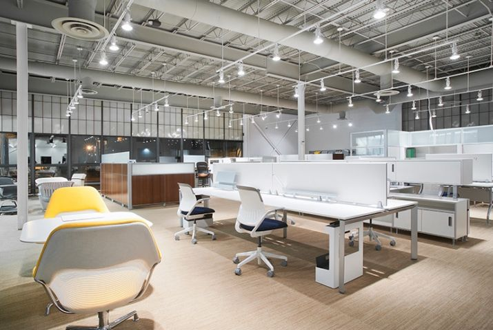 Rockford Business Interiors Open Office Plan   @Steelcase Frame One Benching #Furniture #office #work #commercial