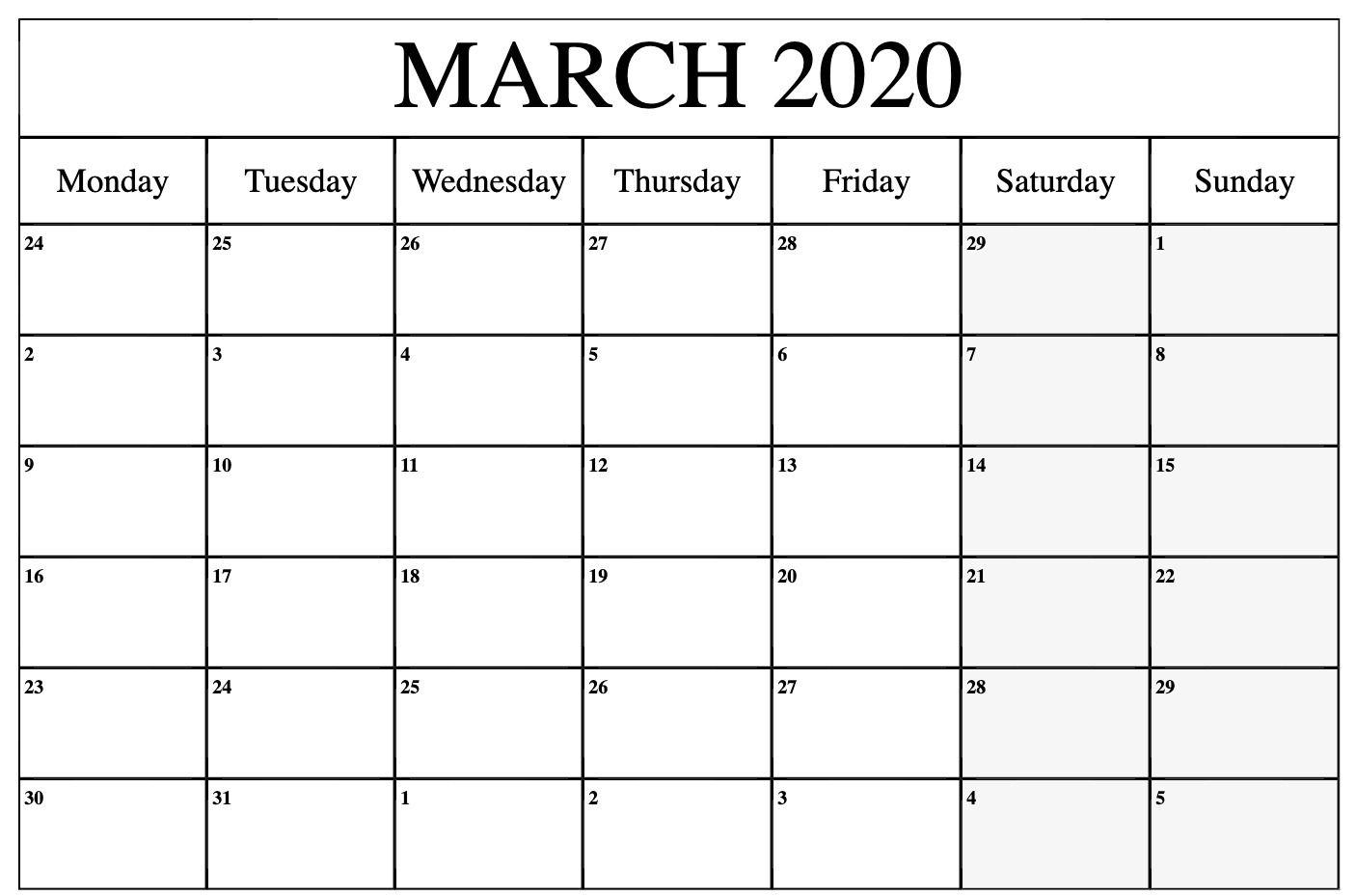 March 2020 Printable Calendar In Pdf Word Excel With Holidays In